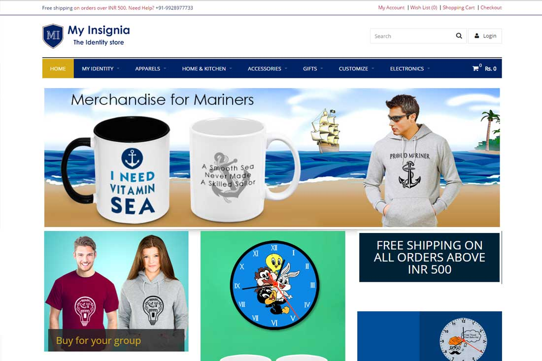E-commerce Website for buying customized T-shirts and Mugs